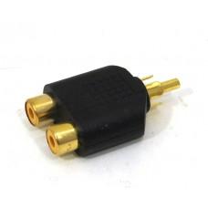 AV splitter - 2 honor till 1 hane RCA/AV ljud/bild, guld